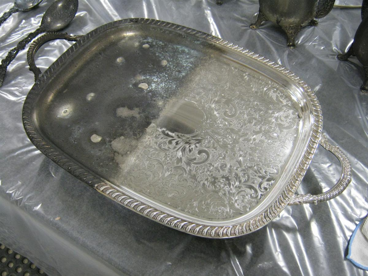silver tray - before and after